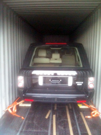 Loading car in container